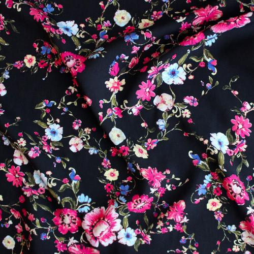Floral Lightweight Viscose Poplin - Black/Pink | Blackbird Fabrics
