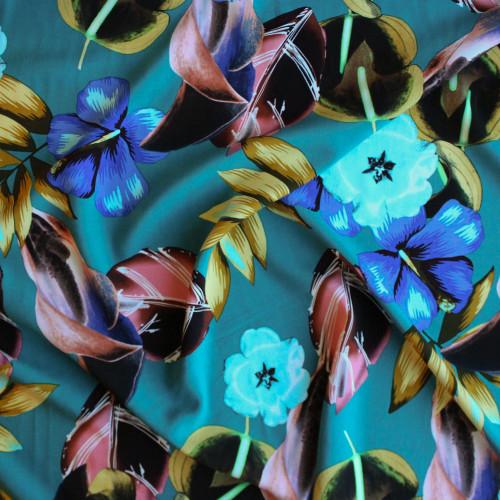 Floral Lei Viscose Poplin - Teal | Blackbird Fabrics