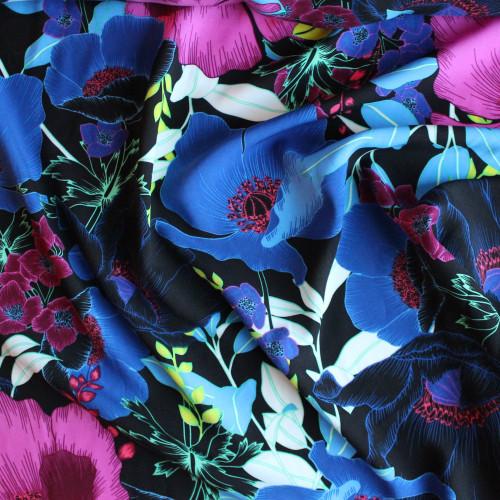 Large Scale Floral Rayon Challis - Royal/Fuchsia/Black | Blackbird Fabrics
