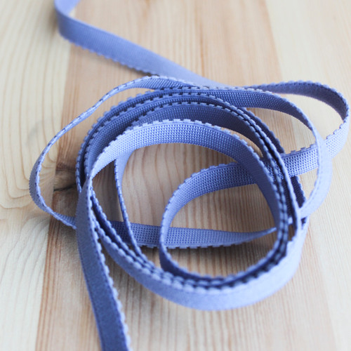 "3/8"" (9mm) Plush Back Elastic - Dark Grey Blue - 1 meter"
