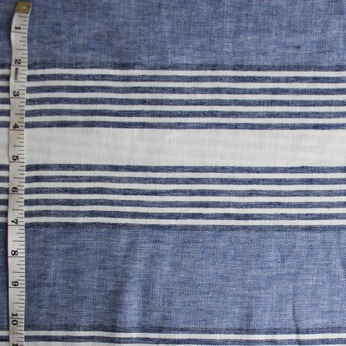 Irregular Striped Linen Cotton - Blue/Navy/White - 1/2 meter