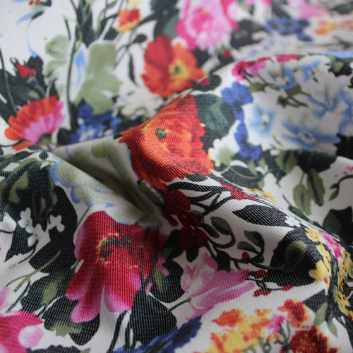 Floral Stretch Cotton Twill - Multicolour - 1/2 meter