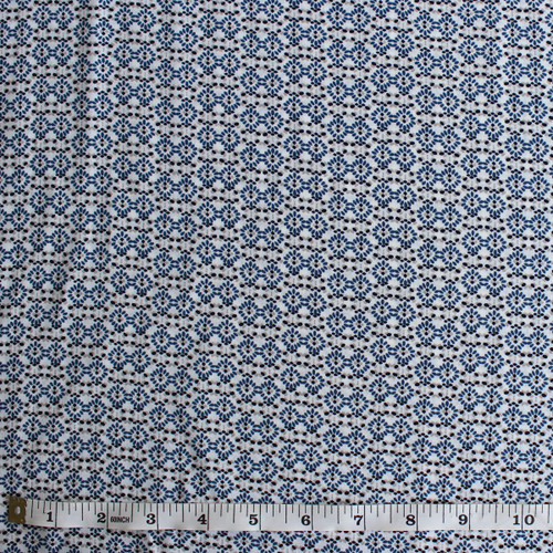Diamond Dots Polyester Crepe - White/Blue - 1/2 meter