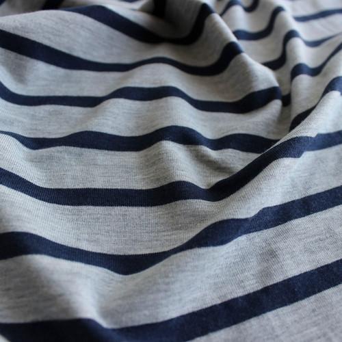 Bamboo & Cotton Striped Jersey - Heather Grey/Navy | Blackbird Fabrics