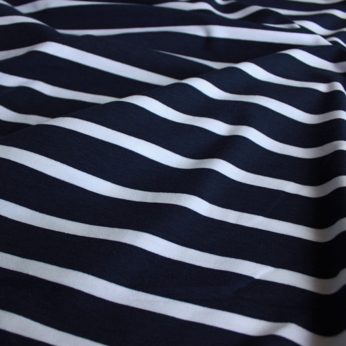 Bamboo & Cotton Striped Jersey Knit - Navy/White | Blackbird Fabrics