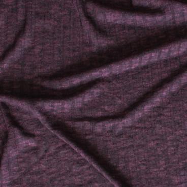 Brushed Ribbed Sweater Knit - Heathered Bordeaux  | Blackbird Fabrics