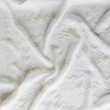 Embroidered Crinkle Silk Chiffon - Ivory | Blackbird Fabrics