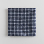 Remnant - 70cm - Small Windowpane Check Brushed Cotton Flannel - Heathered Grey Blue/White | Blackbird Fabrics