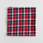 Remnant - 1 meter - Plaid Japanese Cotton Twill Shirting - Red/Navy/White/Blue | Blackbird Fabrics