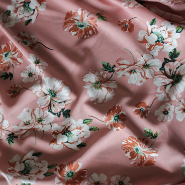 Floral Viscose Poplin - Pale Pink/White/Dove   Blackbird Fabrics