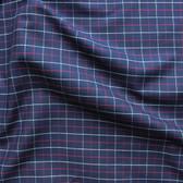 Windowpane Check Japanese Cotton Shirting - Navy/Red/White | Blackbird Fabrics