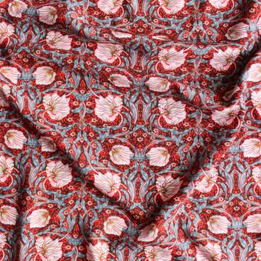 Tapestry Floral Viscose Poplin - Red/Blush   Blackbird Fabrics
