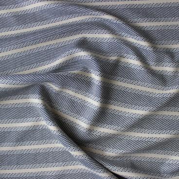Striped Cotton Tweed - Natural/Black/Blue   Blackbird Fabrics