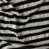 Striped Poly, Cotton & Linen Knit - Natural/Black | Blackbird Fabrics