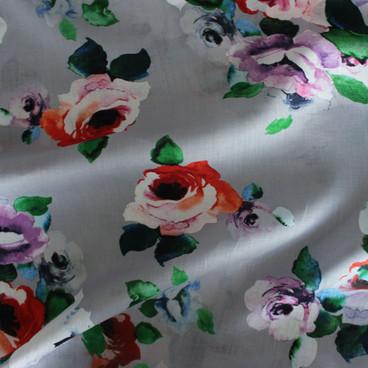 Floral Linen - Silver/Multicolour   Blackbird Fabrics