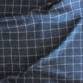 Large Windowpane Check Brushed Cotton Flannel - Heathered Grey Blue/White | Blackbird Fabrics
