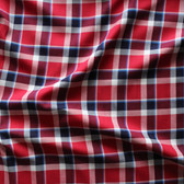 Plaid Japanese Cotton Twill Shirting - Red/Navy/White/Blue | Blackbird Fabrics