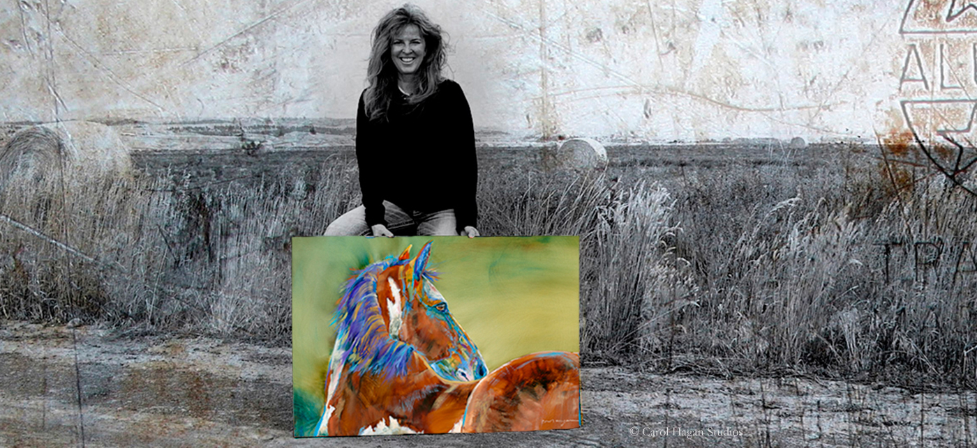Montana artist, Carol Hagan holds a photo of a green horse