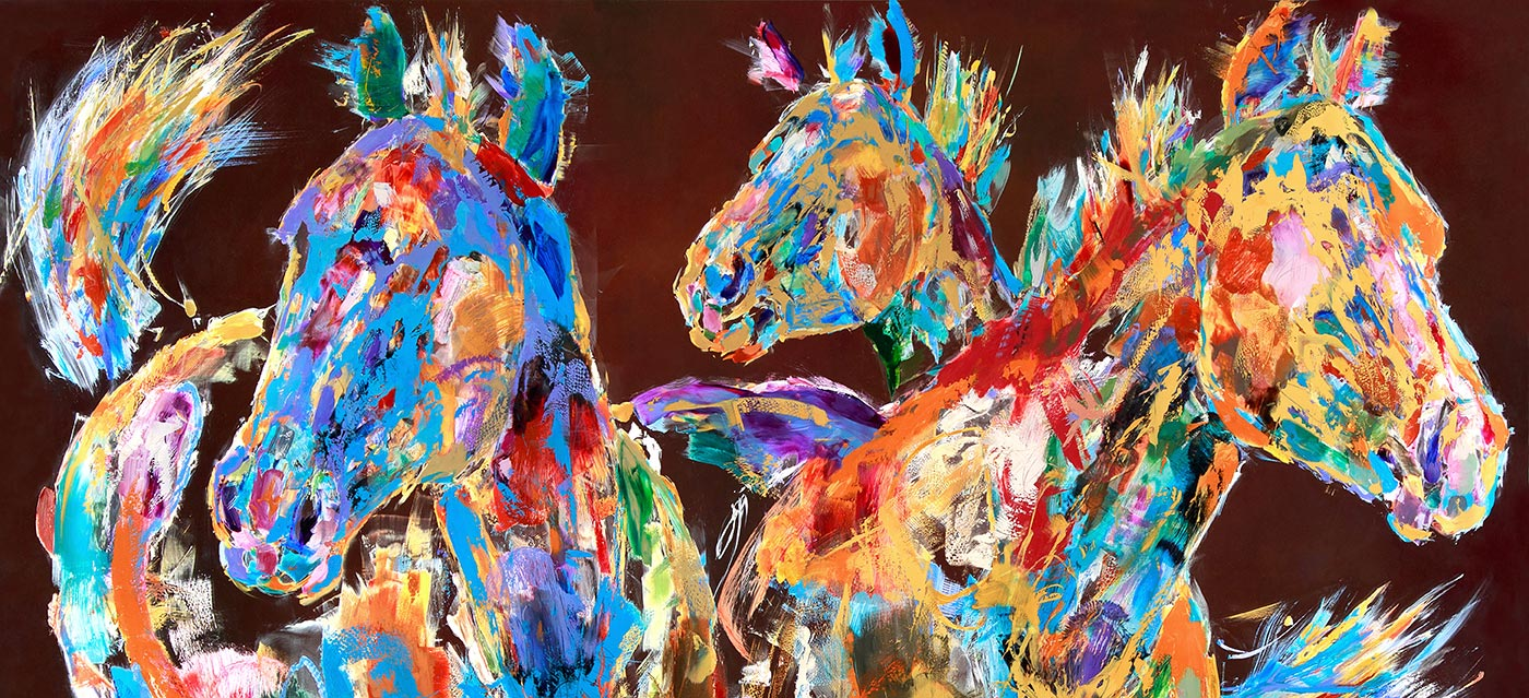 glass horses painting by carol hagan