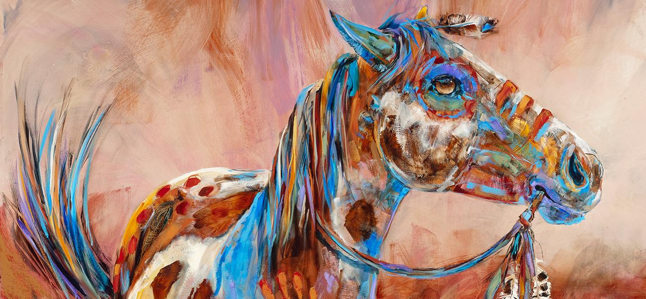 Horse painting, war pony the Markes of Valor by Carol Hagan