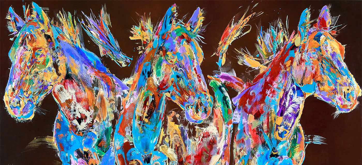 glass horses paintings by western artist carol hagan