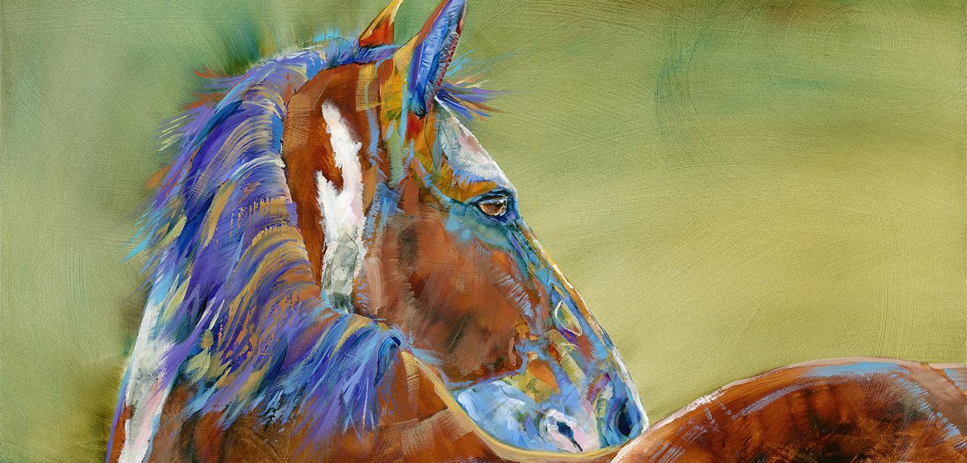 horse painting by montana artist carol hagan