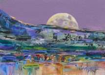 Summer Moonset Over Red Lodge landscape painting