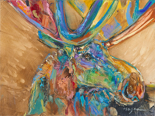 Nosey moose painting
