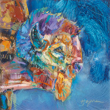 Blue Wind buffalo oil painting
