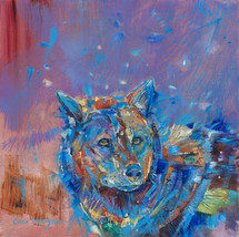 Winter Blue Wolf original painting