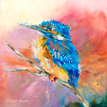"""Baby Kingfisher"" print on metal by Carol Hagan."