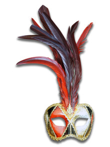 Authentic Venetian Mask Colombina Piume Ron