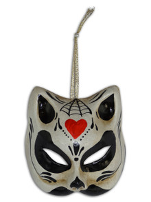 Venetian Mini Mask Ornament Gatto Teschio