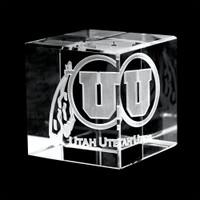 Utah Laser-Engraved Crystal Cube