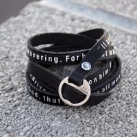 Ask of God Faux Leather Bracelet