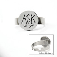 Ask of God Adjustable Ring