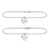 "Bracelet ""Young Women's"" Stainless Steel w/Pearl chain"