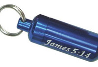Blue Aluminum Oil Vial Keytag