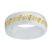 "'Halo"" White Diamond Ceramic W/ gold inlay"