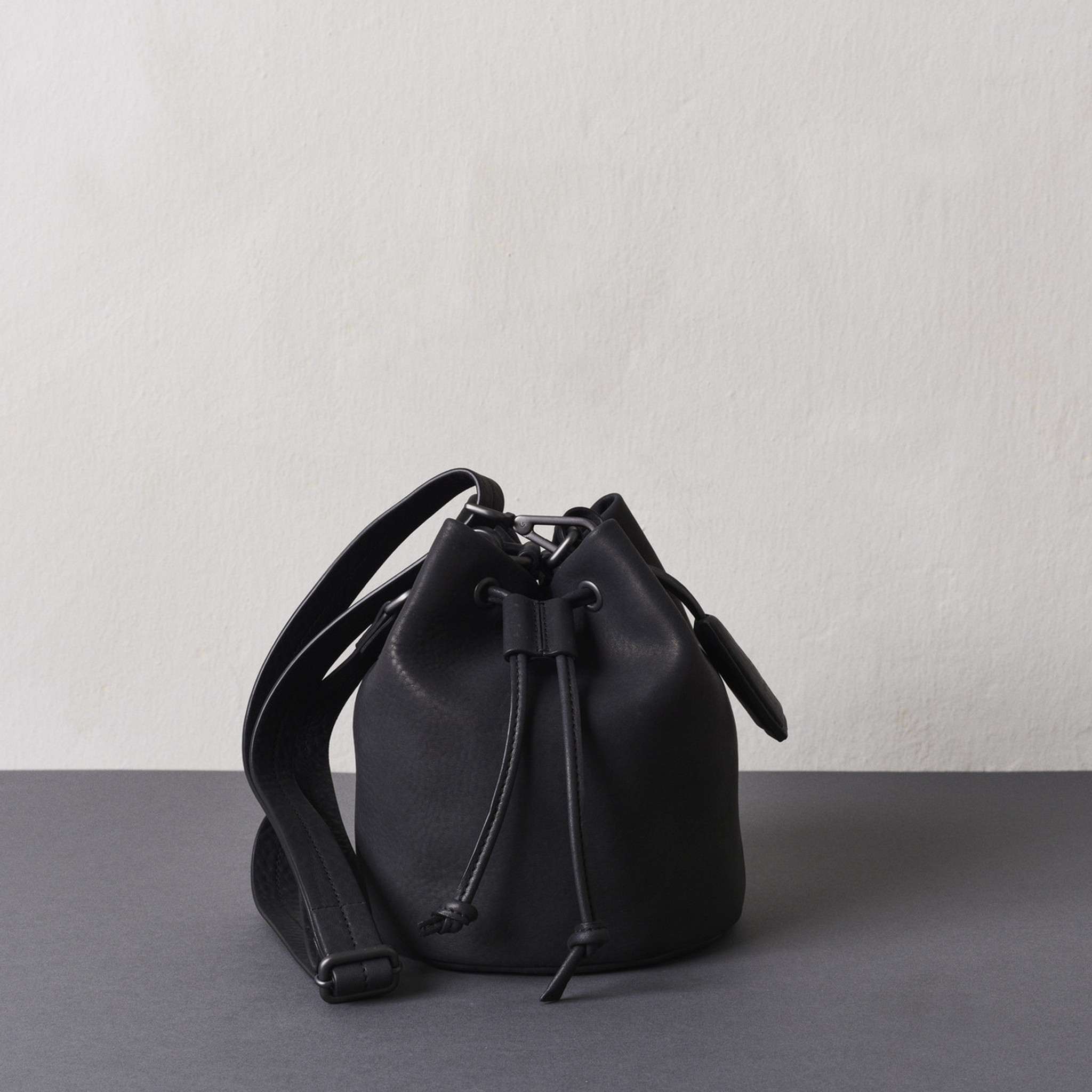 Black Nappa Mini Bucket Bag