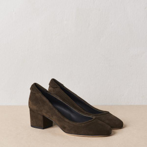 Olive Block Heel Pump