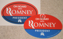 COMBO 2 PACK - ON BOARD WITH ROMNEY - 1 EACH 4x6 INCH OVAL PLASTIC HANGING CAR WINDOW SIGN & 1 EACH 4x6 INCH OVAL BUMPER STICKER