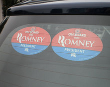 "2 PACK - Plastic Hanging Car Window Signs - ""ON BOARD WITH ROMNEY"" 4x6 Inch Oval"