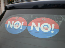 "2 PACK - Plastic Hanging Car Window Signs - Anti-Obama NObama ""NO!"" 4x6 Inch Politics"