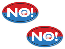 "2 PACK - ""NO!"" Anti-Obama NObama 4x6 Inch Political Bumper Stickers"