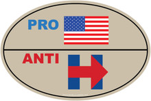 """PRO-USA, ANTI-HILLARY"" 4x6 Inch Political Bumper Sticker"
