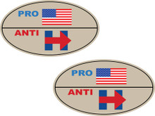 "2 PACK - ""PRO-USA, ANTI-HILLARY"" 4x6 Inch Political Bumper Stickers"