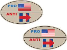 "2 PACK - ""PRO-USA, ANTI-HILLARY"" 4x6 Inch Political Bumper Stickers"