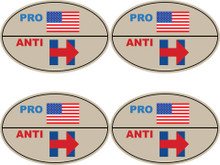 "4 PACK - ""PRO-USA, ANTI-HILLARY"" 4x6 Inch Political Bumper Stickers"