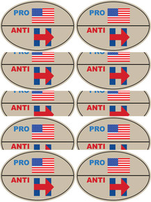"10 PACK - ""PRO-USA, ANTI-HILLARY"" 4x6 Inch Political Bumper Stickers"